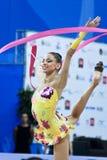 Rhythmic gymnast T. Stoyanova Pesaro WC '10. During the rhythmic gymnastic World Cup 2010, on August 28th, Senior Tsvetelina Stoyanova of Bulgaria performs with stock photos