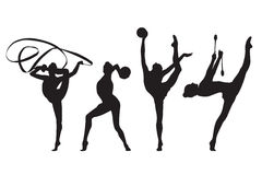Rhythmic gymnastic. Rhythmic gymnast women silhouette set. Vector Stock Images