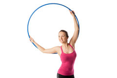 Rhythmic gymnastic woman with hoop up Stock Images