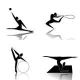 Rhythmic Gymnastics. Women who perform in Rhythmic Gymnastics with tools Royalty Free Illustration