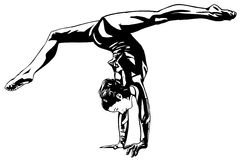 Rhythmic gymnastics. Action.All elements layered black line drained Royalty Free Stock Photography