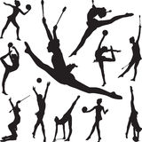 Rhythmic gymnastics with ball and cones silhouette vector. Rhythmic gymnastics with ball and cones Stock Photography