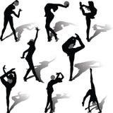 Rhythmic gymnastics with ball. Girl running exercises with the ball in rhythmic gymnastics Stock Image