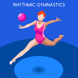 Olympics Paralympics Game Rio BrasiRhythmic Gymnastics Ball Summer Games Icon Set Stock Photo
