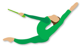 Rhythmic Gymnastics: Clubs. Girl in green unitard leaps in mid-air while holding a green club Royalty Free Stock Photos