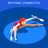 Rhythmic Gymnastics Clubs Olympics Icon Set.3D Isometric Gymnast.Sporting Championship International Competition. Stock Image