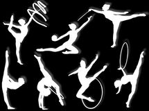 Rhythmic gymnastics exercises Stock Photo