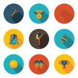 Rhythmic gymnastics flat icon set. In vector format Royalty Free Stock Photography