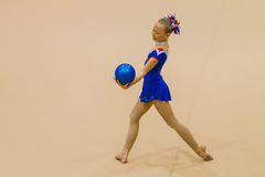 Rhythmic Gymnastics Girl Ball Style Dance Stock Images