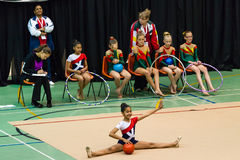 Rhythmic Gymnastics Girl Competitors Ball Stock Photography
