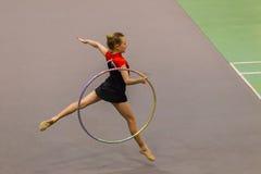 Rhythmic Gymnastics Girl Hoop Flight Dance Stock Images