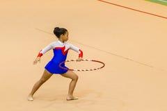 Rhythmic Gymnastics Girl Hoop Program Stock Image