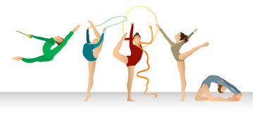 Rhythmic Gymnastics: Group in Color Royalty Free Stock Photo