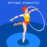 Olympics Paralympics Game Rio Brasil 20Rhythmic Gymnastics Hoop Olympics Icon Set Stock Images