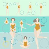 Rhythmic gymnastics hoop woman turquoise vector illustration