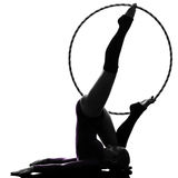Rhythmic Gymnastics with hula hoop woman silhouette Royalty Free Stock Photo