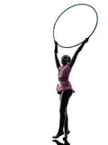 Rhythmic Gymnastics  little girl child   silhouette Stock Image