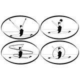Rhythmic gymnastics. Ribbon, ball, hoop, mace Stock Images