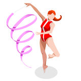 Rhythmic Gymnastics Ribbon Summer Games Icon Set.3D Isometric Gymnast. Royalty Free Stock Images