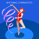 Rhythmic Gymnastics Ribbon Olympics Icon Set.3D Isometric Gymnast.Sporting Championship International Competition. Stock Photos
