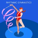 Rhythmic Gymnastics Ribbon Summer Games Icon Set.3D Isometric Gymnast.Sporting Championship International Competition. Stock Photos