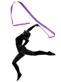 Rhythmic Gymnastics with ribbon woman silhouette. One caucasian woman exercising Rhythmic Gymnastics with ribbon in silhouette studio isolated on white stock photography