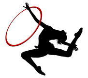 Rhythmic gymnastics. Ring. Gymnastics woman silhouette. Royalty Free Stock Image