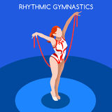 Rhythmic Gymnastics Rope Olympics Icon Set.3D Isometric Gymnast.Sporting Championship International Competition. Royalty Free Stock Photography
