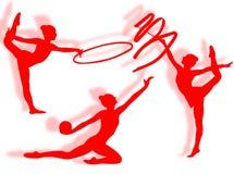 Rhythmic gymnastics silhouette Stock Photography