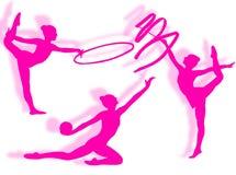 Rhythmic gymnastics silhouette Royalty Free Stock Photo