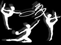 Rhythmic gymnastics silhouette Stock Photo