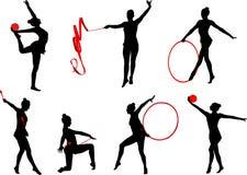 Rhythmic gymnastics silhouettes set 3 Royalty Free Stock Image