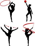 Rhythmic gymnastics silhouettes. Set - vector Royalty Free Stock Images