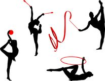 Rhythmic gymnastics silhouettes. Set - vector Royalty Free Stock Photos