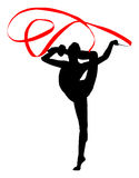 Rhythmic gymnastics. Tape. Gymnastics woman silhouette. Rhythmic gymnastics with tape. A gymnast woman with tape is doing the splits in the foot with the leg Royalty Free Stock Photography