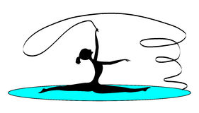 Rhythmic gymnastics with a tape. The vector, black-and-white silhouette, the gymnast dances with a tape Stock Photos