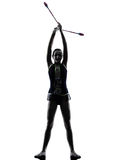 Rhythmic Gymnastics teeenager girl silhouette Royalty Free Stock Photography