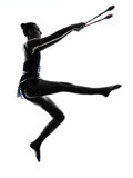 Rhythmic Gymnastics teeenager girl woman silhouette Stock Images