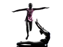 Rhythmic Gymnastics teenager silhouette Royalty Free Stock Photography