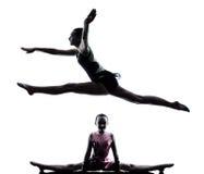 Rhythmic Gymnastics woman  little girl child Stock Images