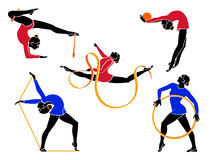Rhythmic gymnasts. With hoop, rope, ball, ribbon and clubs Stock Photography