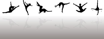 Rhythmic Gymnasts Silhouettes. This is an illustration of rhythmic gymnasts with various motions Stock Photos