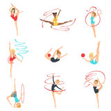 Rhythmic Gymnasts Training With Different Apparatus Royalty Free Stock Photos