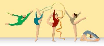 Rhythmische Gymnastik: Farbenreiche Gruppe Stockfotografie
