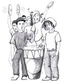 Rhythms Drum Dancing People. A group of eight teenagers are seen dancing and playing music. In the front are two young men each with drumsticks beating one large Vector Illustration