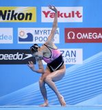 Ri Ji Hyang of P.R. Korea. During a Solo Synchronised Swimming event of World Championship BCN2013 on July 24, 2013 in Barcelona Spain Stock Images