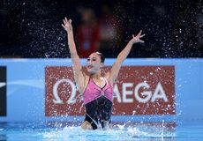 Ri Ji Hyang of P.R. Korea. During a Solo Synchronised Swimming event of World Championship BCN2013 on July 24, 2013 in Barcelona Spain Stock Image