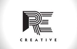 RI progettazione di Logo Letter With Black Lines Linea vettore Illus della lettera Immagini Stock