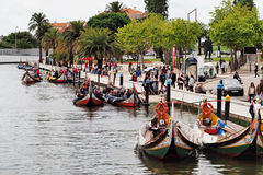 RIA DE AVEIRO PORTUGAL. Traditional moliceiros boats on ria de Aveiro,turistic atraction,economic issue to the city Royalty Free Stock Photo