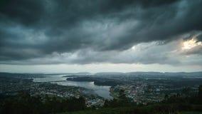 Ria de Ferrol From Mount Ancos-Panorama tijd-tijdspanne stock videobeelden